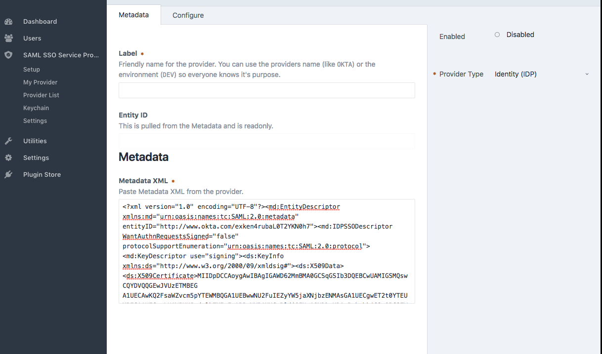 CraftCMS - Paste the IDP's Metadata into the Metadata field