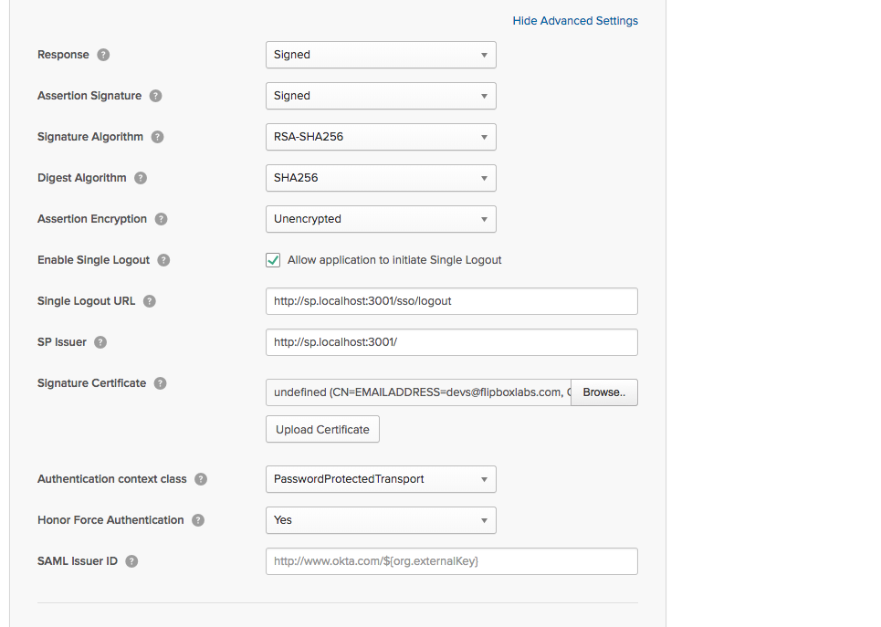 Okta - Advanced Settings - SLO and Certificate Upload